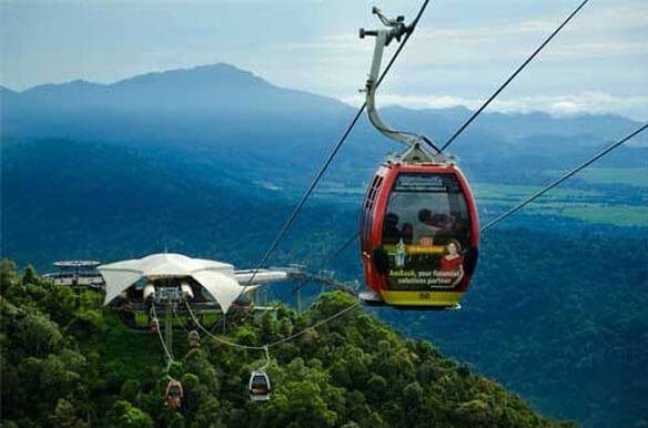Cross tropical woodland with Langkawi Cable Car